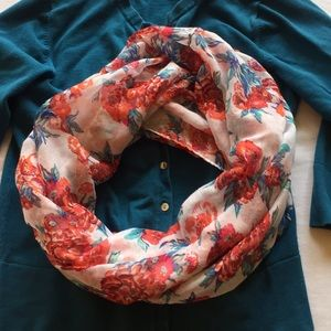 Accessories - Soft infinity scarf. white/pink/orange/blue/teal
